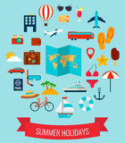 Icônes plates d'été réglées Vacances d'été Vecteur Photos libres de droits