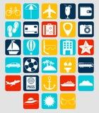 Icônes plates d'été réglées Vacances d'été Vecteur Photographie stock