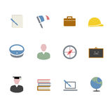 Icônes plates d'étude Images libres de droits
