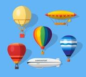 Icônes plates d'aérostat Photographie stock