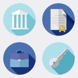 Icônes plates d'affaires de conception avec la longue ombre 2 Illustration Libre de Droits