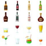 Icônes plates d'alcool illustration stock