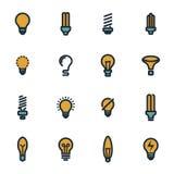 Icônes plates d'ampoules de vecteur réglées Photos libres de droits