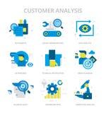 Icônes plates d'analyse de client illustration stock
