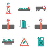 Icônes plates d'approvisionnement en gaz de vecteur Photographie stock