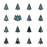 Icônes plates d'arbre de Noël de vecteur réglées Photo stock