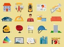 Icônes plates d'architecture et de construction réglées Photos stock