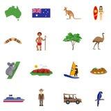 Icônes plates d'Australie réglées illustration stock