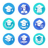 Icônes plates d'éducation réglées Images libres de droits