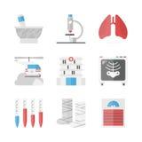 Icônes plates d'hôpital et de médecine réglées Image libre de droits
