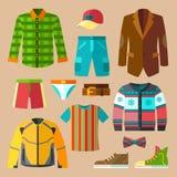 Icônes plates d'habillement réglées pour les hommes Image libre de droits