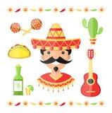 Icônes plates d'illustration du Mexique de vecteur illustration de vecteur