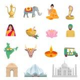 Icônes plates d'Inde réglées Images libres de droits