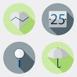 Icônes plates d'interface utilisateurs de conception avec la longue ombre 8 Illustration Libre de Droits