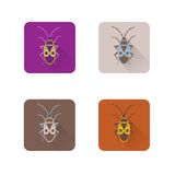 Icônes plates d'isolement avec un insecte Vecteur Images libres de droits
