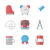 Icônes plates d'objets d'école réglées Photo libre de droits