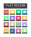 Icônes plates d'ui Image stock