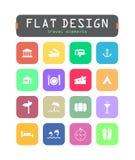 Icônes plates d'ui Images stock