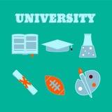 Icônes plates d'université Ensemble d'articles d'université Images stock