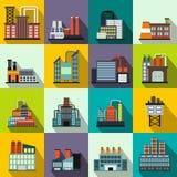 Icônes plates d'usine de bâtiment industriel Image stock