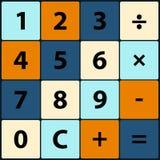 Icônes plates dans une calculatrice carrée Image stock