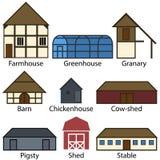 Icônes plates de bâtiments de ferme, illustration de vecteur Photos stock