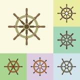 Icônes plates de barre de direction de bateau réglées Images stock