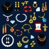 Icônes plates de bijoux et de gemmes Image libre de droits