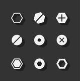 Icônes plates de boulon de vis Image stock