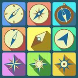 Icônes plates de boussole de navigation réglées Image stock