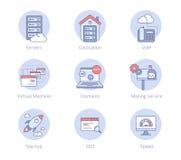 Icônes plates de centre de traitement des données Image libre de droits