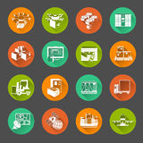 Icônes plates de cercle de nouvelle logistique réglées Photographie stock libre de droits