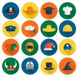 Icônes plates de chapeau Photographie stock libre de droits
