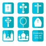 Icônes plates de christianisme réglées Image libre de droits