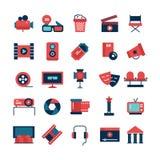 Icônes plates de cinéma de couleur illustration stock