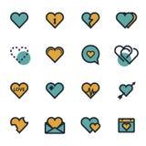 Icônes plates de coeur de vecteur réglées Photos stock