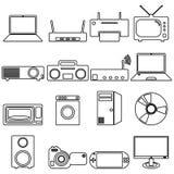 Icônes plates de collection avec la longue ombre electrical illustration stock