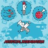 Icônes plates de concept d'insémination artificielle Image stock