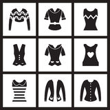 Icônes plates de concept dans l'habillement noir et blanc de femmes Photo libre de droits
