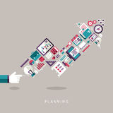 Icônes plates de concept de planification de conception réglées Photos libres de droits