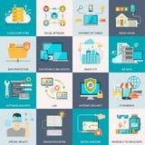 Icônes plates de concept de technologies de l'information Photo libre de droits