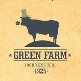 Icônes plates de conception avec l'animal de ferme - vache Photos libres de droits