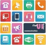 Icônes plates de conception d'ui - communication Images stock