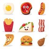 Icônes plates de conception de visage coloré d'émoticône d'aliments de préparation rapide réglées Photo stock