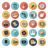 Icônes plates de conception pour des loisirs et le divertissement Photographie stock libre de droits
