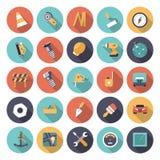 Icônes plates de conception pour industriel Images libres de droits