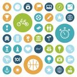Icônes plates de conception pour le voyage, le sport et les loisirs Photos libres de droits