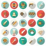 Icônes plates de construction réglées Images stock