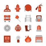 Icônes plates de corps de sapeurs-pompiers réglées Photographie stock