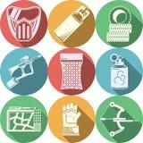 Icônes plates de couleur d'équipement de Paintball Images libres de droits